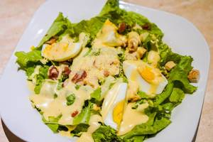 A healthy egg salad plate with creamy sauce (Flip 2019)