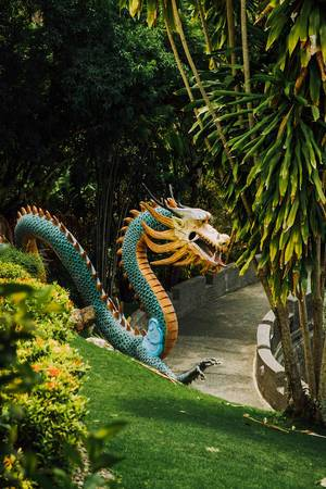 A large dragon statue in a temple