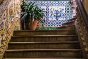 A quaint inner court of a church in Barcelona, Spain