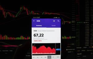 A smartphone displays the Exxon Mobil Corporation market value