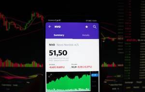 A smartphone displays the Novo Nordisk market value
