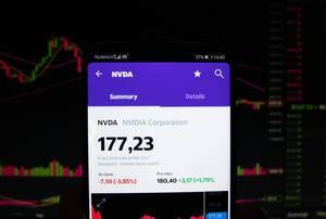 A smartphone displays the NVIDIA Corporation market value