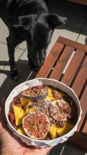 Acai Bowl mit Mango, Feige, Rosinen, Goji Beeren und Kokosraspeln
