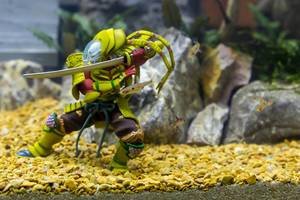 Action figure and fish in an aquarium