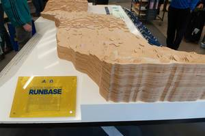 Adidas RUNBASE for Boston Marathon 2016 with wooden-made course model
