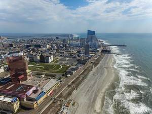 Aerial Drone Photo of Coast with Skyscraper in Atlantic City, New Jersey