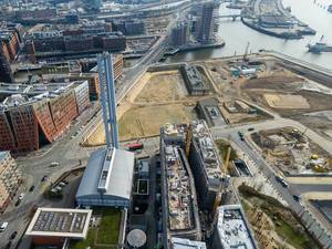 Aerial Drone Photo of Construction Sites in Hamburg HafenCity, Germany