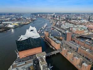 Aerial Drone Photo of Elbphilharmonie Concert Hall in HafenCity Quarter of Hamburg