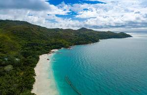 Aerial Drone Photo of Grand Anse Beach on Praslin, Seychelles
