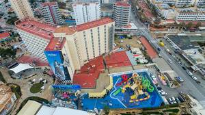 Aerial Drone Photo of Hotel Sol Katmandu Park & Resort in Magaluf, Mallorca