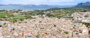 Aerial Drone Photo of Old Town Alcudia in Mallorca, Spain