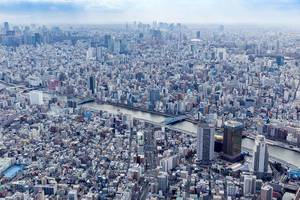 Aerial Drone Photo of Skyline of Tokyo, Japan