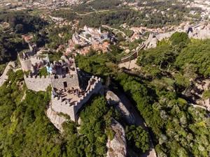 Aerial drone shot of Castelo Dos Mouros