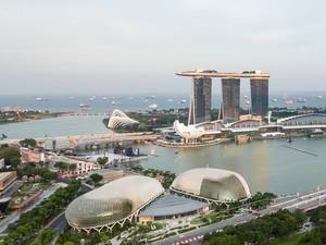 Aerial: Marina Bay Sands and Harbour