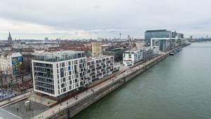 Aerial of Office Buildings and flats in Cologne (Rheinauhafen)