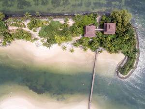 Aerial of Palawan Island, Sentosa