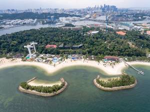 Aerial of Siloso Beach in Sentosa