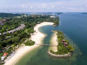 Aerial: Palawan Island and Beach in Sentosa, Singapore