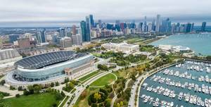 Aerial panorama: Soldier Field, The Field Museum, Shedd Aquarium and Skyline of Chicago