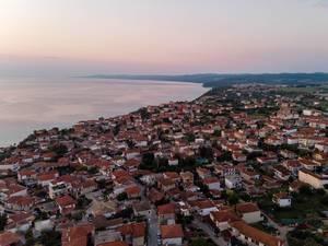 Aerial photo of Afitos at dusk