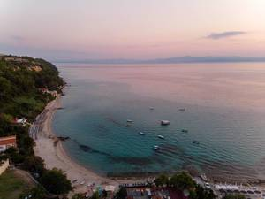 Aerial photo of Afitos beach at sunset