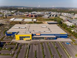 Aerial photo of an IKEA store and parking lot