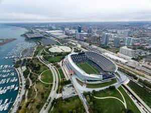Aerial photo of Northerly Island marina and Soldier Field