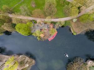 Aerial photo of paddleboats at the pond in Volksgarten in Cologne