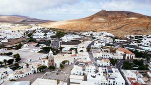 Aerial photo of Spanish town of Teguise on the Canary Islands