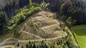Aerial photo of summer toboggan run Gutach