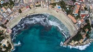 Aerial photo of the beach in Peguera, Mallorca