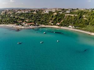 Aerial photo of the idyllic town of Afitos, Greece