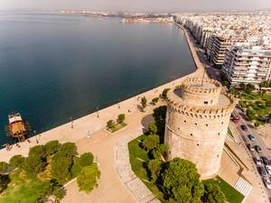 Aerial photo of the White Tower of Thessaloniki