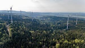 Aerial photo of wind power stations. New wind farm Straubenhardt
