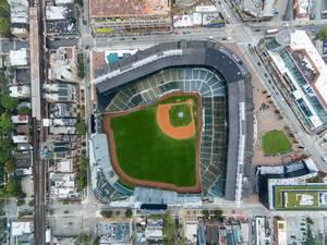 Aerial photo of Wrigley Field