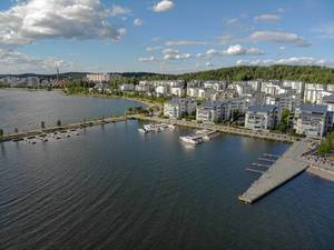 Aerial photo shows the Ironman race track at the coast of Lahti, Finland, next to a yacht harbour at Lake Vesijärvi