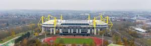 "Aerial photography of soccer stadium ""Signal Iduna Park"" in Dortmund City Centre West, Germany"