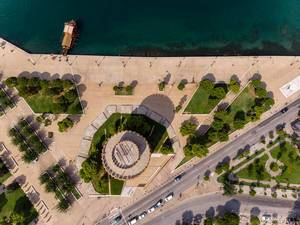 Aerial photography of White Tower of Thessaloniki