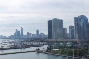 Aerial picture of Chicagos skyline and port of Lake Michigan