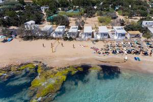 Aerial picture of the greek coast between Santa Maria Beach and turquoise Mediterranean Sea