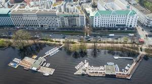 Aerial Picture of Yach Harbour in front of Hotel Atlantic in Hamburg