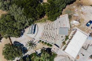 "Aerial shot of the open air movie theatre ""Cinema Enastron"" at Park Paros in Greece"