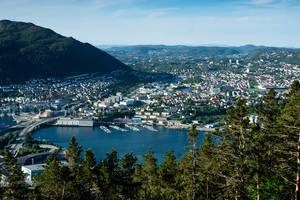 Aerial view of Bergen, Norway with the North Sea and mountains (Flip 2019)