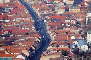 Aerial view of Brasov, Romania, street with old buildings