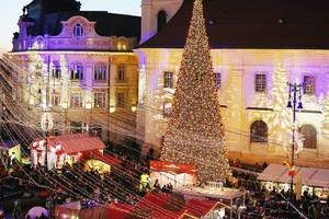 Aerial view of Christmas tree and market