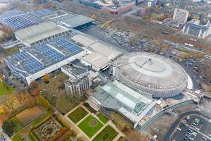 Aerial view of circular building and event venue Westfalenhalle in Dortmund, Germany