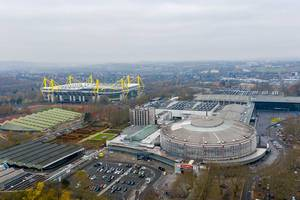 Aerial view of concert hall and event venue Westfalenhalle and soccer stadium Signal Iduna Park in Dortmund, Germany