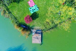 Aerial view of fishing tools on wooden pontoon (Flip 2019)