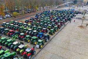 Aerial view of German farmers tractor convoy protesting new agricultural policy