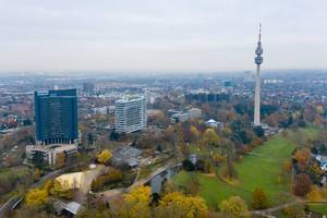 Aerial view of high television tower Florian-Turm with viewing platform in the Westfalenpark in Dortmund, Germany
